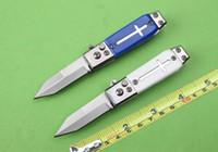 iki bıçak toptan satış-Toptan mini mini katlanır bıçak otomatik bıçak sigorta cihazı sağlam çakı iki stilleri Beyaz kutu ambalaj ücretsiz kargo