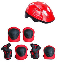 Wholesale baby elbow pads resale online - 7PCS Set Sport Toys Kids Roller Skating Helmet Knee Elbow Wrist Pad Protective Gear Set Comfortable Scooter Skate Toys for Baby