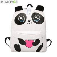 çanta tuval 3d toptan satış-Kawaii 3D Panda Tuval Sırt Çantası Genç Kızlar için Okul Sırt Çantaları Kadınlar Yeni Büyük Kapasiteli Seyahat Çantası Sırt Çantası Bolsa Feminina