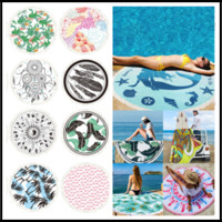 Wholesale beach decor for home - 150*150CM Polyster Round Beach Blankets With Tassels 22 Tropical Styles Printing Beach Towel for Picnic Camping Home Decor