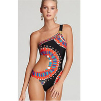 traje de baño monikini al por mayor-Mujer Traje de Baño Un Hombro Trikini Monikini Señora Traje de Baño Femme Bikini Ahueca Hacia Fuera Traje de Baño Geometría Ropa de Playa Sexy 22dd V