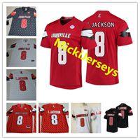 cardenales jerseys negro al por mayor-Mens NCAA Louisville Cardinals Lamar Jackson College Camisetas de fútbol americano cosido Blanco Rojo Negro # 8 L.Jackson Louisville Cardinals Jersey S-3X