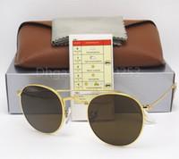 ingrosso occhiali da sole di alta qualità per le donne-I più venduti Uomo Donna Moda Occhiali da sole Golden Green Round Metal Frame 50mm Lenti in vetro Designer Occhiali da sole Scatola marrone di qualità eccellente