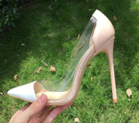 Wholesale transparent dresses for women - Women Pumps 2017 Transparent 12cm High Heels Sexy Red Bottom Pointed Toe Slip-on Clear Wedding Dress Shoes For Lady Size 42