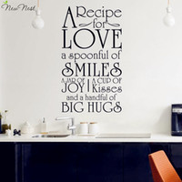 Wholesale Wall Quotes For Kitchen - Free Shipping - A Recipe for Love Kitchen Decals Vinyl Wall Sticker Quotes Decals Removable Art Home Decor, Kitchen Stickers Art
