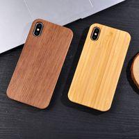 ingrosso cassa in legno naturale-Cassa del telefono TPU legno anti-bussare eccellente per Iphone X 10 7 8 PLUS 6 6S cassa del telefono cellulare in legno naturale su misura per Samsung Galaxy S9 S8 S7