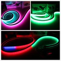néon flex achat en gros de-50m bobine 24v numérique néon rgb led bande chassant néon flex vue de dessus carré 17x17mm pixel lumière 5050 smd dmx