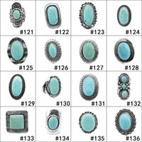 Wholesale turquoise jewelry men ring - Dropshipping 112 styles Turquoise Rings Punk Style Green Natural Stone Rings Costume Gemstone Ring Jewelry for Women Men