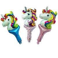 Wholesale cheer balloons stick resale online - cheap Unicorn Hand stick aluminium balloons unicorn cheering stick Toy Cartoon balloon for children Festival decoration Party Supplies