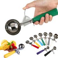 cucharadas de cucharas de plástico al por mayor-Cucharas de helado de acero inoxidable pilas Cuchara de puré de fruta redonda con manija de plástico Herramientas de barra de cocina WX9-837