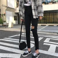 koreanische kühle kleidung großhandel-Mihoshop Ulzzang Korean Korea Damenmode Kleidung Hole Punk Cool Black Denim Harajuku Jeans Hosen