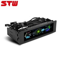 Wholesale Computer Fan Controllers - STW 5036 5-Fans Controller Cooler CPU Temperature Sensor Computer Cooling Drive Bay Front LCD Panel PC Fan Controller