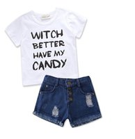 Wholesale Boys 24 Months Jeans - 2018 Boys Childrens Clothing Sets White Letters tshirts Jeans Pants Shorts 2Pcs Set Summer Boy Kids Cotton Tshirts Boutique Clothes Outfits