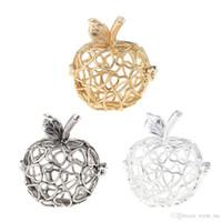 charme de gaiola de bola venda por atacado-Jóias Pulseira Colares DIY feitos à mão em forma de maçã medalhão gaiola de bola pingente de montagens pode abrir encantos de jóias DIY fazendo