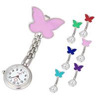 красивые элегантные подвески оптовых-Nurse Clip-on Fob Brooch Pendant Hanging Butterfly Watch Pocket Watch New fashion ladies beautiful clock girl  elegant A60