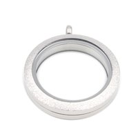 34 mm 316 Stainless Steel Double Crystal Living Memory Glass Charm Locket