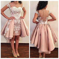 Wholesale black prom dresses for short girls resale online - 2019 Sheer Overskirts Short Cocktail Dresses White Lace Appliques Short Prom Gowns For Graduation Girls Homecoming Wear Pleated
