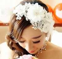Wholesale red feather hair - Bridal handmade headwear, lace flowers, wedding pearls, diamond wedding dresses, accessories.