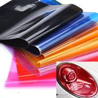 Wholesale vehicle decal wraps - 2018 30 x 60cm PVC Car Foil Film Auto Vehicle Tail light Headlight Wrap Sticker Decal Purple Blue Red Yellow Black