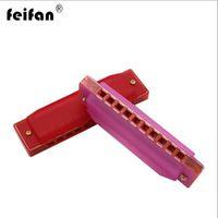 armónica de 12 agujeros al por mayor-Auténtica armónica de plástico Feifan 10 agujeros armónica niños instrumento instrumentos de juguete