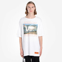Wholesale t shirt birds women - White Black Jersey T-shirt Heron Preston Bird Print Short Sleeve Tee Men Women Hi-Street Oversized Tees Skateboard Shirts DFYG1211