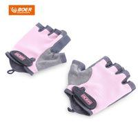 rosa fitnesshandschuhe groihandel-BOER Paar Bodybuilding Fitness Gewichtheben Halbe Fingerhandschuhe für Frauen mode neopren pool halb finger handschuhe für frauen Rosa farbe