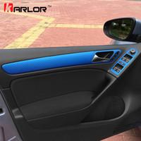 guarnição da porta do carro do carbono venda por atacado-Atacado para volkswagen vw golf 6 mk6 maçaneta da porta guarnição botão interruptor da janela de fibra de carbono filme adesivo decalque car styling acessórios