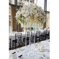 merkez kristaller toptan satış-Düğün Dekorasyon Centerpiece Temizle Çiçek Standı Evlilik Kristal Akrilik Çiçek Vazo Yol Kurşun Sütun Pillar Sahne