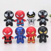 ingrosso pvc palla 7cm-8pcs / set The Avengers Spiderman Venom Action PVC Figure Toy Model Doll Spider man 7cm