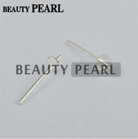 brinco copos venda por atacado-100 Pairs Wholesale 925 Sterling Silver Pearl DIY Stud Earring Mounting Post Pin with Cup Cap 3mm or 4mm