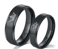 ingrosso regina dei monili di modo-2018 New Fashion Coppia anelli gioielli fai da te colore nero placcato acciaio inossidabile 316L SUA REGINA e SUA coppia anelli per gli innamorati
