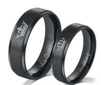 anillo de acoplamiento al por mayor-2018 Nueva moda DIY Pareja anillos de joyería Negro chapado en color acero inoxidable 316L SU REINA y SU REY anillos de pareja para los amantes