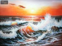 oceano ondas arte pinturas a óleo venda por atacado-100% feito à mão onda do oceano pintura a óleo sobre tela sala de estar com pinturas decorativas presente original Kungfu Arte