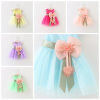 Wholesale baby show clothing for sale - Baby girls tutu dresses new summer girl skirts with bow children boutique clothing princess dress flower kids show tutu skirt