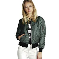 Wholesale ladies long army jacket resale online - Female Women Lady Thin Jackets Fashion Basic Bomber Jacket Long Sleeve Coat Casual Stand Collar Thin Slim Denim Outerwear