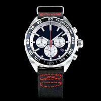 Wholesale team belt - NEW F1 Red team Sports Men's Watch CAZ1018.FC8213 Japan VK quartz movement STOPWATCH Silver stainless steel Black nylon belt T AG WristWatch