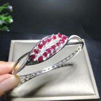 regalos para ruby aniversario al por mayor-Ola de lujo deslizamiento de torsión Natural rojo rubí brazaletes piedras preciosas naturales brazaletes S925 plata pulsera mujeres regalo de aniversario joyería