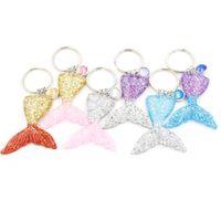 Wholesale boys mermaid - Fashion 6 Colors Mermaid Sequins Keychain Mermaid Fishtail Scale Keyrings Bag Purse Alloy pendant key chain Accessories Jewelry