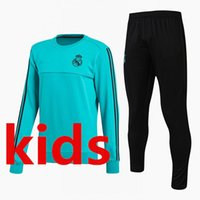 Wholesale Green Track Suits - New 2018 Real Madrid kids soccer Tracksuit RONALDO ASENSIO Track suits jacket 17 18 Real Madrid kids chandal training suits sports wear set