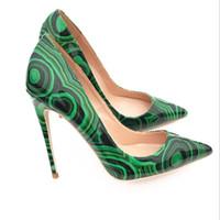 зеленые туфли на высоком каблуке оптовых-2018 Euramerican новый зеленый круг, туфли на высоком каблуке, женские 12 см острые туфли, вечернее платье обувь, небольшой код 10 см