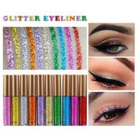 Wholesale powder eyeliner pencil - Makeup Glitter EyeLiner Shiny Long Lasting Liquid Eye Liner Shimmer eye liner Eyeshadow Pencils with 10 colors for choose