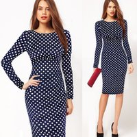 Wholesale Tight Black Cotton Dress - New European and American autumn wear long sleeved retro wave point round point a few knees Pencil Dress straight tube sexy tight skirt