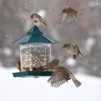 gazebo ao ar livre venda por atacado-Plástico Novo Estilo Europeu Selvagem Alimentador Do Pássaro Ao Ar Livre Alimentadores Do Pássaro Recipiente De Alimento De Suspensão Gazebo Alimentador Do Pássaro Perfeito Para Decoração Do Jardim