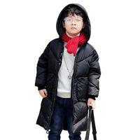девушки зимние пальто оптовых-2018 New Boys Girls Autumn Winter Long Coat Kids School Hooded Jacket Fashion Casual Cotton Down Solid Color Winter Clothes