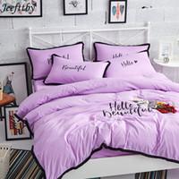 conjuntos de cama rosa e cinza venda por atacado-Jeefttby Casa Têxtil Simples Estilo Coreano Preto Sutura Borda 4 pcs Conjuntos de Cama Rosa Cinza Princesa Menina Roupa de Cama Lençol Fronha