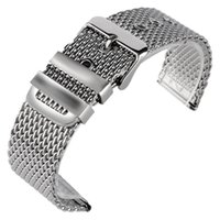 Wholesale Mesh Link Bracelet - 20 22 24mm Silver Replacement Watchband Pin Buckle Solid Link Stainless Steel Mesh Bracelet Wrist Band Strap High Quality