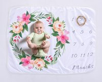 Wholesale washing photos - Polar Fleece Baby Wrap Flower Garland Photo Background Blanket Gift Wrap for Baby Birthday Date Baby Blanket With Free Shipping RB1029