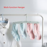 Wholesale garment clips - New Multi-function Hanger Sturdy Slim Lightweight Clothes Hangers Holder with rotary hook 4 colors are optional.