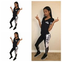 Wholesale polyester tracksuits wholesale - Pink Letter Print Fitness Tracksuit Two Piece Set Short Sleeve Tops and Pants Suits 2pcs Outfits OOA4908