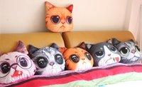 almohada de muñeca de gato al por mayor-Perro de dibujos animados gato 3D almohada bebé muñeca niños duermen muñeca de peluche coche de la decoración del hogar regalo de los niños regalo creativo animal impreso almohada FFA1209